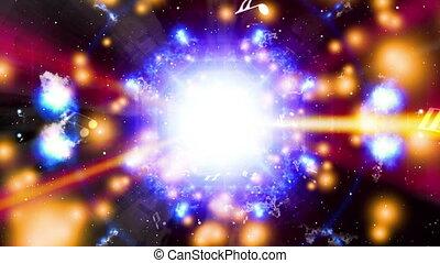 Cosmic music machine and lights looping animated CG abstract...