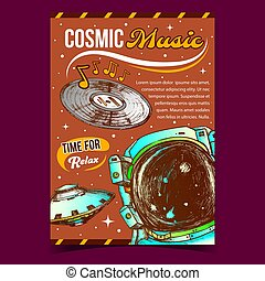 Cosmic Music Relax Time Advertising Poster Vector