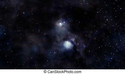 Cosmic nebula - Animation of space flight towards nebula
