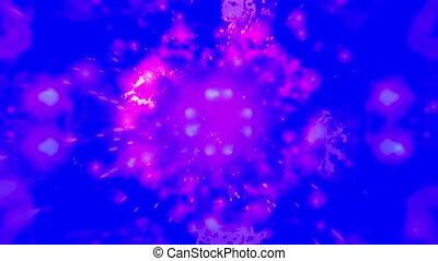 Cosmic pink particle abstract on bright blue background loop