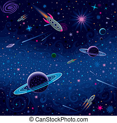 Cosmic Seamless Pattern - Vector seamless space pattern with...