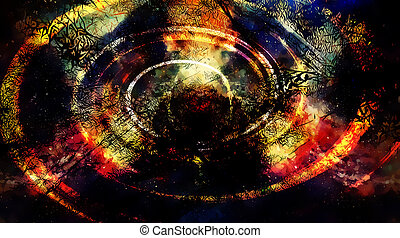 Cosmic space and stars, color cosmic abstract background and black fractal structure and light swirl.