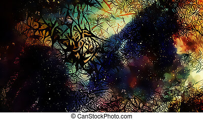 Cosmic space and stars, color cosmic abstract background and Black Fractal structure.