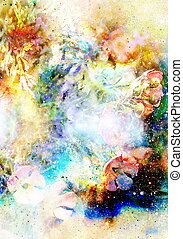 Cosmic space with flowers, color galaxy background, computer collage.