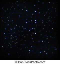cosmico, vettore, cielo, stelle, fondo