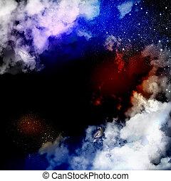 cosmique, brume, nuages