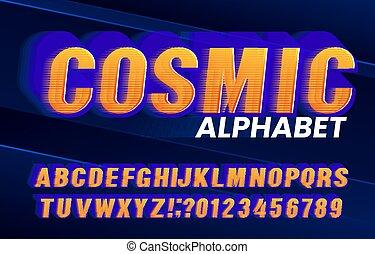 cosmique, effet, style., alphabet, font., retro, lettres, élevé, nombres, vitesse