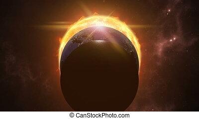 cosmique, lune, scene., rendre, globes., 4k, soleil, la terre, animé, eclips, 3d