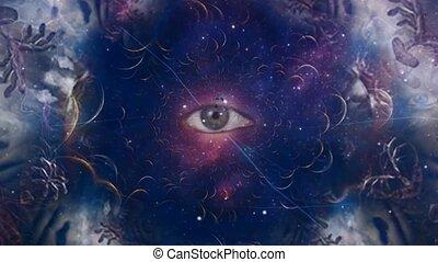 cosmique, oeil, fractal