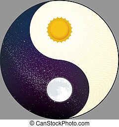 cosmological, sol, moon., yin, day., yang, noturna