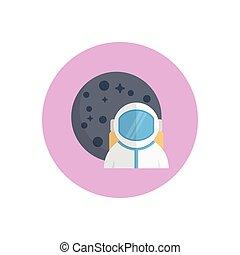 cosmonaut  flat color icon