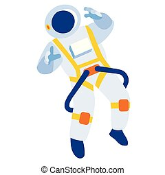 Cosmonaut flat illustration. Space travel and fiction...