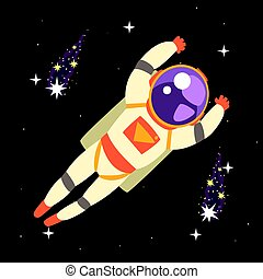Cosmonaut floating in outer Space colorful vector...
