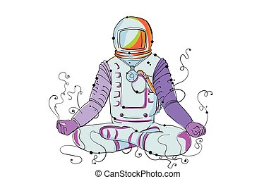 Cosmonaut Padmasana Position Doodle - Doodle art...