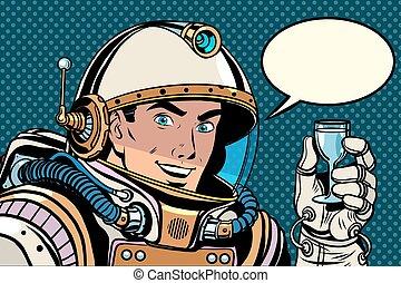 Cosmonaut toast celebration pop art retro style. Holiday....
