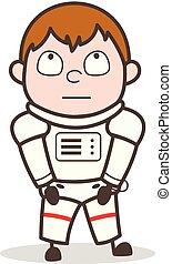 cosmonauta, pensare, illustrazione, faccia, vettore, innocente, espressione, cartone animato