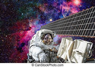 cosmonauta, trabaja, exterior, el, estación internacional espacio