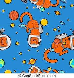 cosmonaute, astronaute, espace, seamless., modèle, textire, chat kitty, costume., chouchou, astronaute, arrière-plan., univers, bébé, tissu