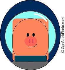 cosmonaute, illustration, arrière-plan., vecteur, porcin, blanc