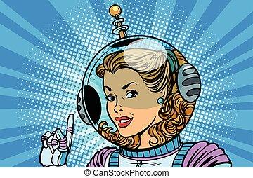 cosmonaute, indique, femme, doigt