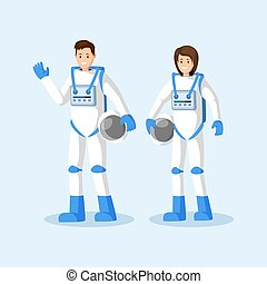 Cosmonauts in spacesuits flat vector illustration. Male and female astronauts standing, waving hand and holding helmets cartoon characters. Space mission, universe exploration isolated