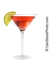 Cosmopolitan mixed drink with lime wedge on a white background