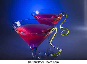 Cosmopolitan Coctail - Two glasses of cosmopolitan coctail ...