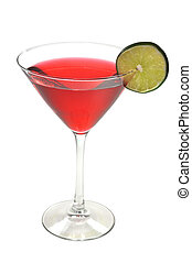 Cosmopolitan Drink Isolated - Red Cosmopolitan with lime...