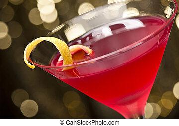 cosmopolite, garnir, citron, cocktail