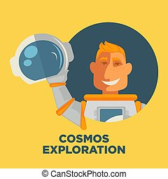 Cosmos exploration promo poster with astronaut in pressuresuit