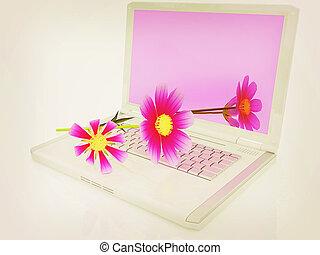 cosmos flower on laptop. 3D illustration. Vintage style.