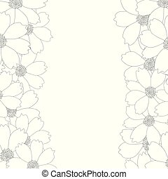 Cosmos Flower Outline Border