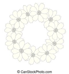 Cosmos Flower Outline Wreath