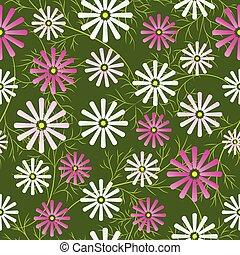 Cosmos flowers field seamless pattern