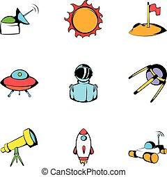 Cosmos icons set, cartoon style