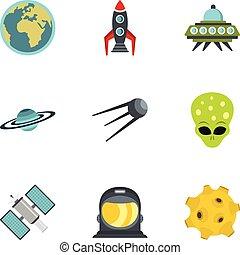 Cosmos icons set, flat style