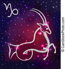 cosmos of the stars of the constellation Capricorn and gems...