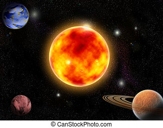 Cosmos - Several Planets in outer spaces around sun
