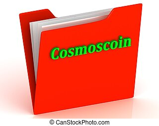 Cosmoscoin- bright green letters on red paperwork folder