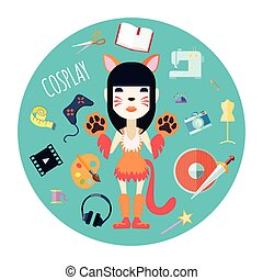 Hipster character girl in self made cat costume and fashion accessories flat round mint background abstract vector illustratio