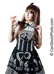 Cosplay girl in black dress