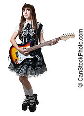 Cosplay girl in black dress with guitar