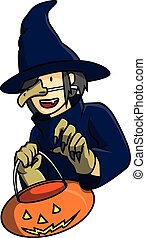 Cosplayer witch vector illustration