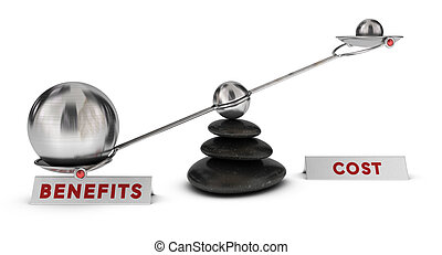 Cost and Benefits - Two spheres with different sizes on a...