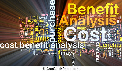 Cost benefit analysis background concept glowing -...