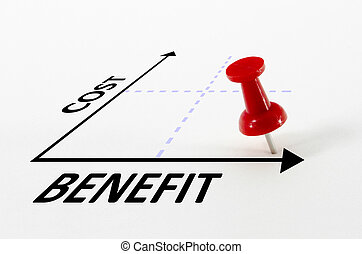 Cost Benefit Analysis Concept with Target Pin Marker - Cost...