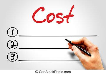 Cost blank list