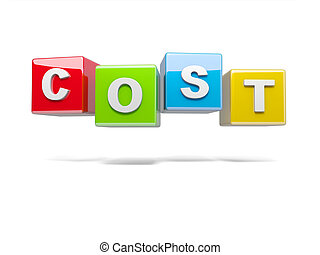 Cost - Inscription on the cubes of red,cost