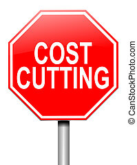Cost cutting concept. - Illustration depicting a roadsign...