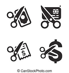Cost Cutting Icons (Gray Version)